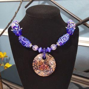Jewelry - Blue Murano Millefiori Glass Necklace
